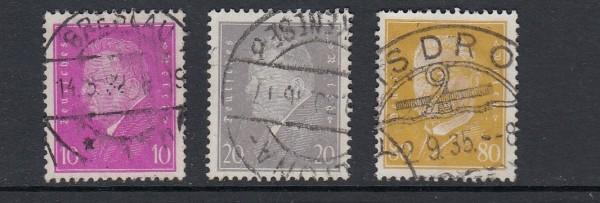 Deutsches Reich Mi-Nr. 435-437 zentrisch gestempelt