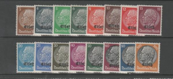 Besetzung II. Weltkrieg Elsaß Mi-Nr. 1-16 ** postfrisch