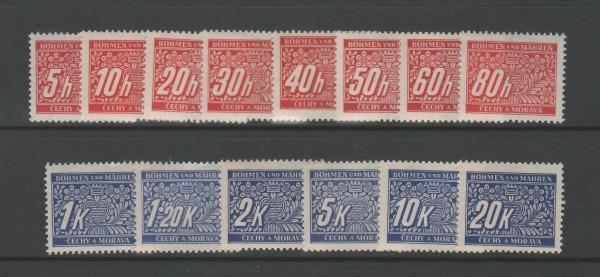Böhmen und Mähren Portomarken Mi-Nr. 1-14 ** postfrisch