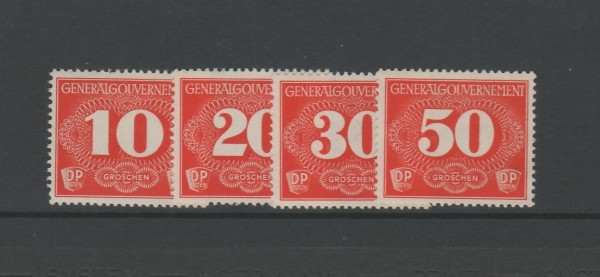 Generalgouvernement Zustellmarken (Portomarken) Mi-Nr. 1-4 ** postfrisch