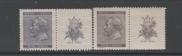 Böhmen und Mähren Mi-Nr. 73-74 Zf ** postfrisch - mit Zierfeld