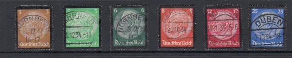 Deutsches Reich Mi-Nr. 548-553 zentrisch gestempelt