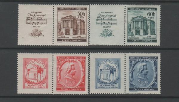 Böhmen und Mähren Mi-Nr. 79-82 Zf ** postfrisch - mit Zierfeld