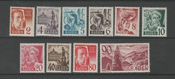 Französische Zone Baden Mi-Nr. 28-37 ** postfrisch