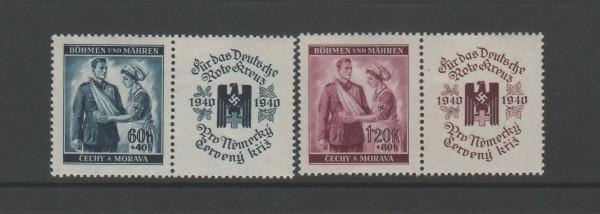 Böhmen und Mähren Mi-Nr. 53-54 Zf ** postfrisch - mit Zierfeld