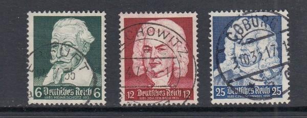 Deutsches Reich Mi-Nr. 573-575 zentrisch gestempelt