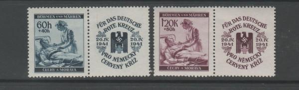 Böhmen und Mähren Mi-Nr. 62-63 Zf ** postfrisch - mit Zierfeld